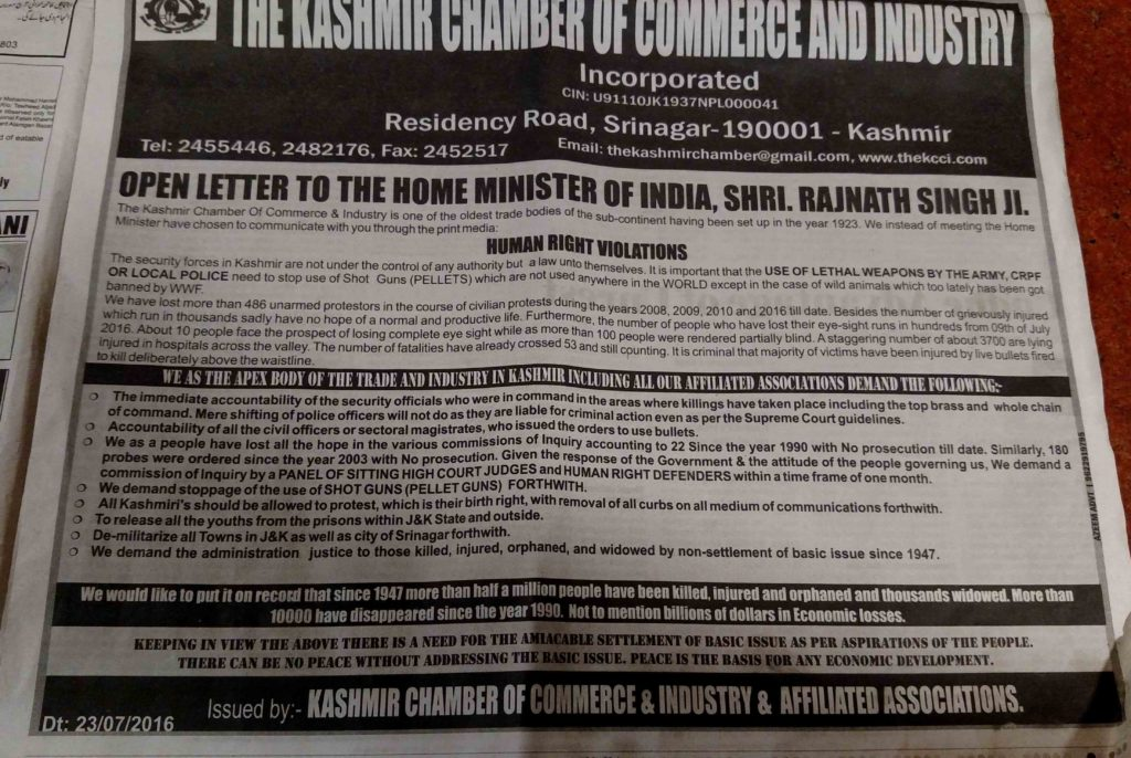 open letter to home minister by Kashmir business community